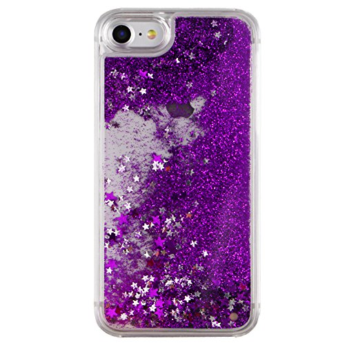 iPhone 7 Hülle Transparent,iPhone 7 Hülle Glitzer,iPhone 7 Case Slim,Schutzhülle Für iPhone 7 Hülle Transparent Hardcase,EMAXELERS 3D Kreative Liquid Bling Kristall Glitzer Hülle Case Für iPhone 7,iPh Star 6