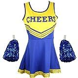 CHEERLEADER Kostüm Uniform High School Musical Kostüm mit Pom Poms 6Farben–5Größen zur Auswahl Gr. 42, Blau / Gelb