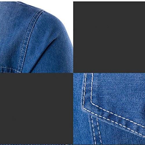 Honghu Herren Langarm Jeans Casual Hemd Schwarz