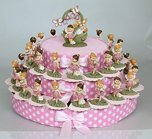 Maison party by p.l.t. srls fatina fata bomboniere bimba battesimo comunione torta pois rosa 3 piani da 35 fette+35 fatine+porta foto fata centrale+confetti+ biglietto