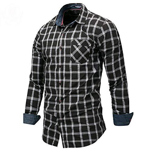 Männer Langarm Plaid Kleid Hemd prüft Hemd beiläufige Sozialgeschäft Hemden 100% Baumwolle schwarz Europa Größe XXXL