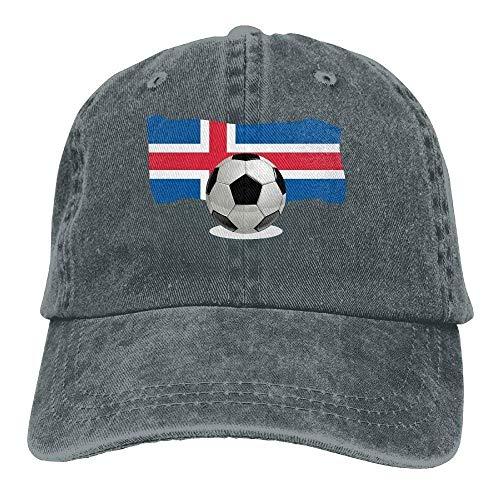 Aeykis Balón de fútbol para Hombres y Mujeres con Bandera de Islandia Gorra de béisbol Vintage Jeans...