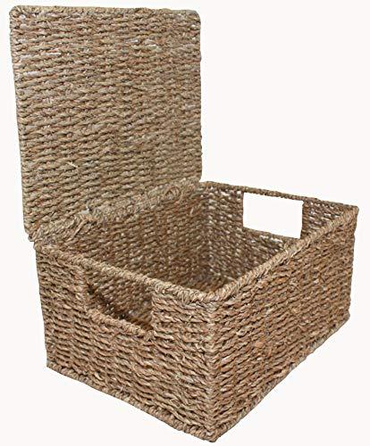 Home-ever natürlichem Seegras, länglich Aufbewahrungskörbe Box behindern mit Deckel, 15cm H x 33cm W x 24cm D -
