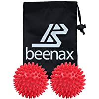 Beenax Hard Spiky Massage Ball (Set of 2) - Perfect for Plantar Fasciitis, Trigger Point, Deep Tissue Massage, Acupressure, Reflexology - Designed to Relieve Stress and Relax Tight Muscles - 7.5cm