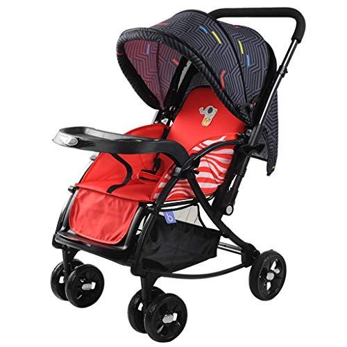 Erweitern Sie Trolley (Babywagen Blau / Rot Leicht faltbar Kann sitzen / liegen Trolley Baumwollkissen Erweitern Sie den Körper Zwei-Wege-Schubstange mit Korb Full Cover Markise Anti-UV-Kinderwagen 51 * 83 * 100cm (Farbe: R)