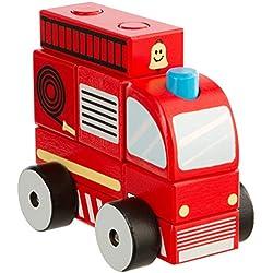 Ultrakidz - Camión de bomberos de madera, 7 piezas
