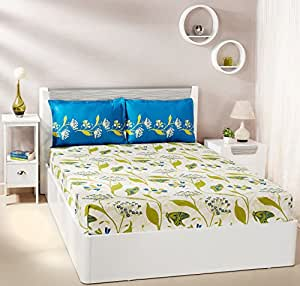 Amazon Brand - Solimo Lily Bloom 144 TC 100% Cotton Double Bedsheet with 2 Pillow Covers, Green