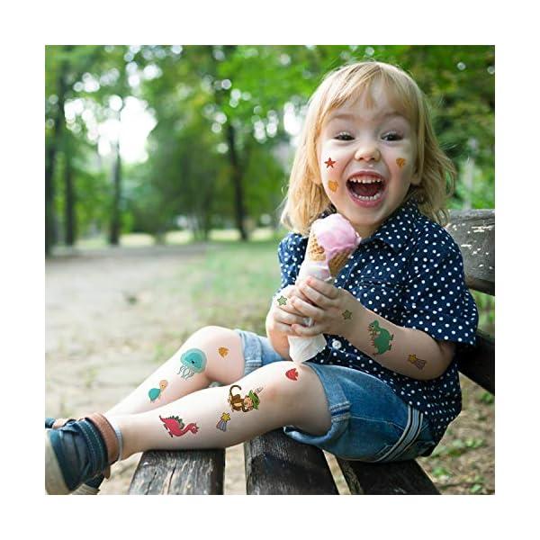 EKKONG Tatuaggi Temporanei per Bambini, 40 Fogli Tatuaggi Set de Unicorno e Dinosauro e Pirata e Sirena, Tatuaggi Finti… 5 spesavip
