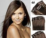 Große Förderung! Romantic Angels® Clip-In-Extensions für komplette Haarverlängerung - hochwertiges Remy-Echthaar - 110 g - 50 cm Farbe:mittelbraun #4