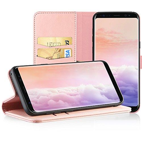 EasyAcc Hülle Case für Samsung Galaxy S8, Lederhülle PU Leder Flip Tasche Klappbar Schutzhülle Handyhülle mit [Ständer Funktion] Card Holder Cover Kompatibel mit Samsung Galaxy S8 - Pink