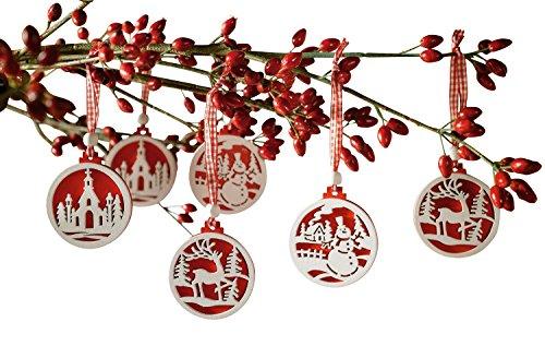 Frank Flechtwaren - Decorazioni per albero di Natale, confezione da 18