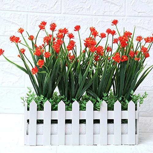 Künstliche Blumen Pastoralen Gefälschte Blumen Zaun Set Outdoor Außerhalb UV Beständig Gefälschte WindowBox Topfpflanzen Rot Orange