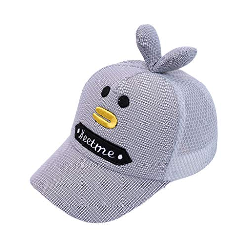 Lifet Hut Demen Kinder Sommer, Niedlichen Cartoon Ente Bestickt Mesh Zurück Baseball Cap 3D Ohren Vintage Plaid Kappe Muster Einstellbar Snapback Screen Hut -