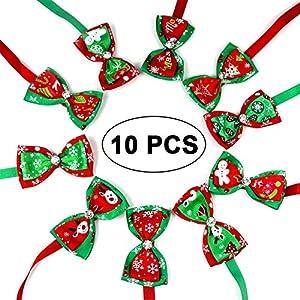 KOBWA 10pcs/Lot de Noël pour Animal Domestique Chien Nœud Papillon Sherman Mix 10Couleurs Solide Chien Cravates réglable pour Animal Domestique Pet Collier Accessoires de toilettage