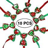 KOBWA Hundehalsband mit Fliege, für Weihnachten, 10 Farben, verstellbar, 10 Stück