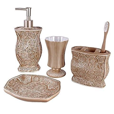 Victoria Bath Ensemble, 4 Piece Bathroom Accessories Set, Victoria Collection Bath Gift Set Features Soap Dispenser, Toothbrush Holder, Tumbler, & Soap
