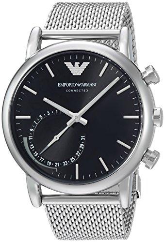 Emporio Armani Herren Chronograph Quarz Smart Watch Armbanduhr mit Edelstahl Armband ART3007