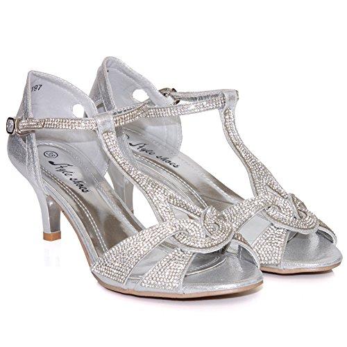 Unze Sandales Décoré Mode Femmes Gerry Argent