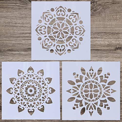 LOCOLO 3 Stück Mandala wiederverwendbare Schablone (30,5 x 30,5 cm) Malschablone Laser Cut Malvorlage für DIY Dekor, Malen auf Holz, Airbrush, Felsen und Walls Art (Schablone Dekor)