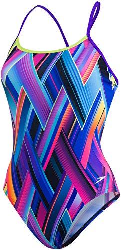 Speedo Damen Fizz Bounce Single Crossback Badeanzug, Violett/Limetten-Grün/Türkis, 36