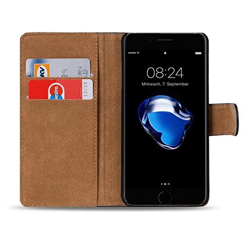 iPhone 7, 8 Bookstyle Hülle, Conie Mobile PU Leder Schutzhülle Handytasche Bookcase Tasche Premium Klapphülle in Schwarz Grün