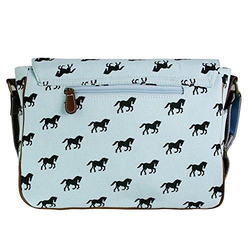 Miss Lulu tela gufo, farfalla, elefante, cavallo, cupcake pattern design Satchel saddle messenger a tracolla in tela cerata e Horse Blue (Canvas)