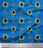 Soimoi Blau Baumwoll-Voile Stoff Blätter und Sonnenblumen