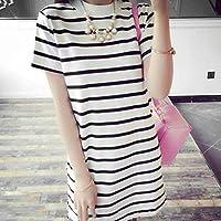Oyamihin Short-Sleeved Long-Striped Skirt Slim T-Shirt Skirt - Beige