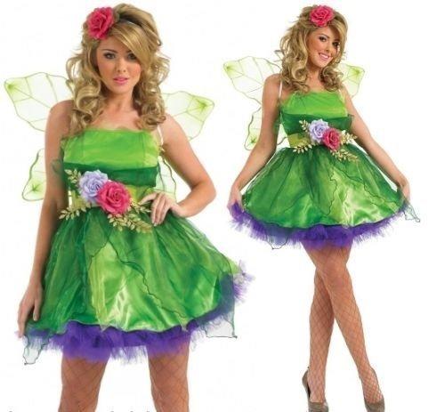 Damen Kostüm Feenkleid Nymphe Tinkerbell Pixie Verkleidung