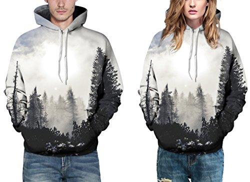 EmilyLe Damen 3D Druck Sweatshirts Weihnachten Pullover mit Cartoon Aufdruck Kapuzenjacke Langarm Top Hoodie grau Wald