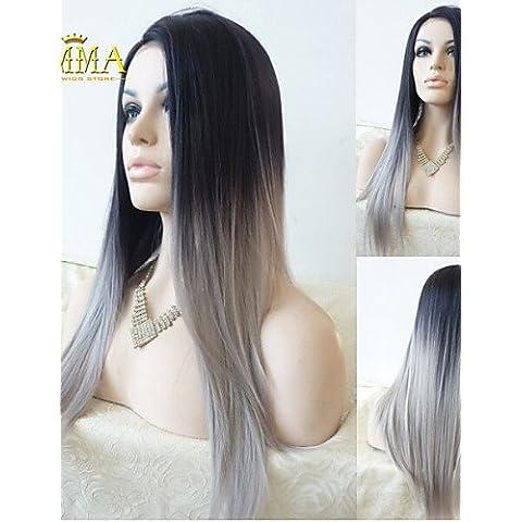 Pelucas de la manera conveniente y cómodo recto de seda gris de encaje sintético peluca frontal de plata ombre pelucas dos tonos naturales negro gris de pelo para pelucas