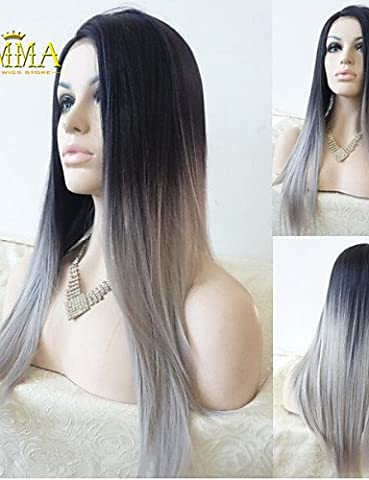 Fashion wigstyle Silk Straight Ombre Silver Grey Synthetic Lace Front Wig Two Tone Natural Black/Grey Hair Wigs For Women Emma Wigs on sale