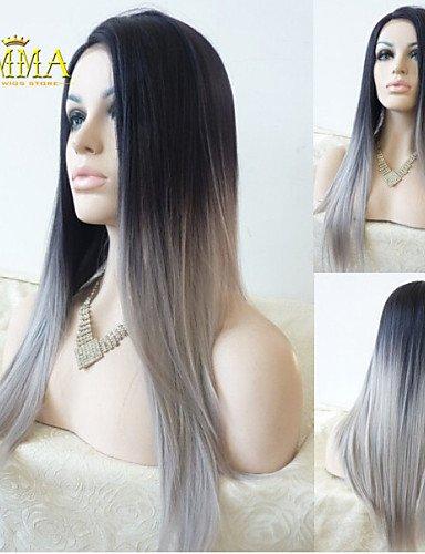 Fashion wigstyle Seide gerade Ombre Silber Grau Synthetische Lace Front Perücke Zwei Ton natur schwarz/grau Haar Perücken für Frauen Emma Perücken auf Verkauf (Verkauf Perücke)
