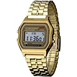 Rrimin Vintage Men Women Stainless Steel Digital Alarm Stopwatch Watch Gold