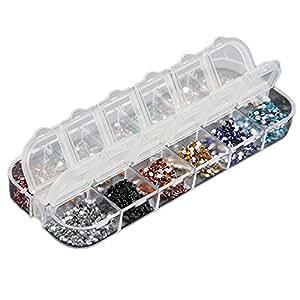Emall supply Lot de 3000 strass pour manucure gel UV ou acrylique 12 couleurs différentes Ø 1,5 mm