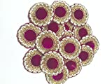 #8: PINK COLUR ROUND SHAPED APPLIQUE EMBROIDERED BOTA SEW ON PATCH SEWING APPLIQUE BY 4