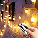 LED Fairy String Lights - Liwiner【 Remote& Timer】 16FT 50Leds 8 Modes Battery Operated Photo Clips Light ㄧGlobe lights For Indoor ㄧOutdoor Bedroom Christmas Wedding Warm White