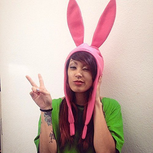 Cosplay Rosa Fleece Hase Hut - Louise Belcher - Bob's Burgers - Louise Hut