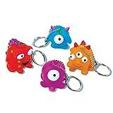 Monster Party - 4 Schlüsselanhänger Partygeschenk Mitgebsel Kindergeburtstag