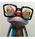 Pintura al óleo hecha a mano Fokenzary, rana con gafas sobre lienzo estirado y enmarcado,...