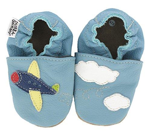HOBEA-Germany  Krabbelschuhe Flieger, Chaussons pour enfant mixte bébé Bleu (hellblau)