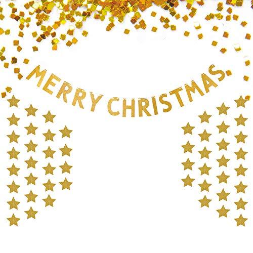 BUOCEANS Banner Weihnachten, Girlande Weihnachten, Merry Christmas Banner Flaggen, Party Dekoration, Dekoration Banner Mit Papier Girlande Punkte Hängen Dekor, Party Hochzeitsfeier, Glitter Gold