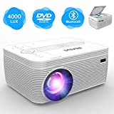 BIGASUO Bluetooth Projector with DVD Player 2800 Lux, Video Projector with 1080P Full