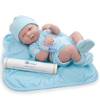 Jc Toys Spain - Muñeco Rn Niño 36 Cms. Cuerpo Goma Vestido Azul Lunares 102-18540 por Jc Toys Spain