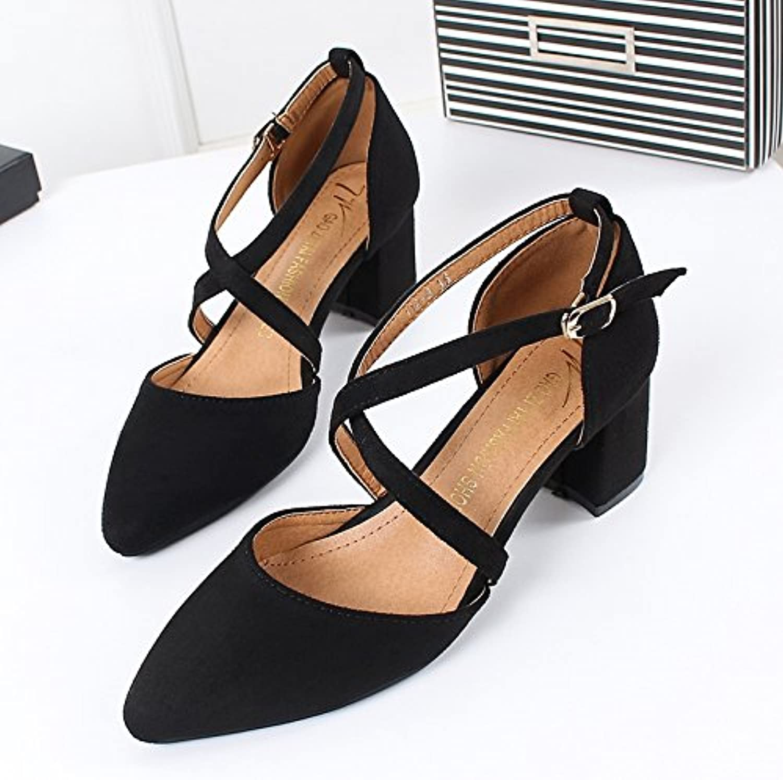 KPHY-En Primavera Mujeres Chistes Clavos Zapatos Tacones Zapatos De Tacones Altos 6Cm. Treinta Y Seis Black