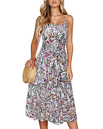SOLERSUN Robes pour Femme Grande Taille, Mesdames été Robe mi-Longue Fluide Swing A-Ligne Camis avec Ceinture Robes Florales pour Juniors Blanc XXL