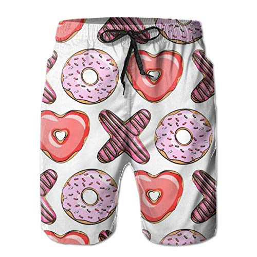 (klein) XO Heart Shaped Donuts - Valentines Red and Pink_124 Herren Boardshorts Badehose Surf Beach Holiday Party Badehose Strandhose L