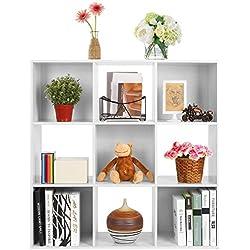 HOMFA Librería Estantería de 3 niveles 9 cajas Armario modular carga de 80 Kg 91*91*30cm tablero de afeitar