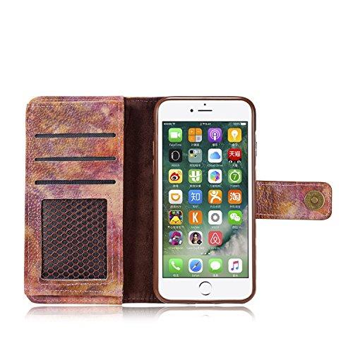 """Coque iPhone 7 Plus, Housse iPhone 7 Plus, Alfort 2 en 1 Série La Forêt Etui de Protection Folio en PU Cuir + Silicone Souple en Haute Qualité Protection Totale pour Apple iPhone 7 Plus 5.5"""" Smartphon Rouge Vineux"""