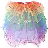 Phenovo Women Girls Colorful Layered Long Tail Dancing Skirt Bubble Skirt Party Fancy Dress